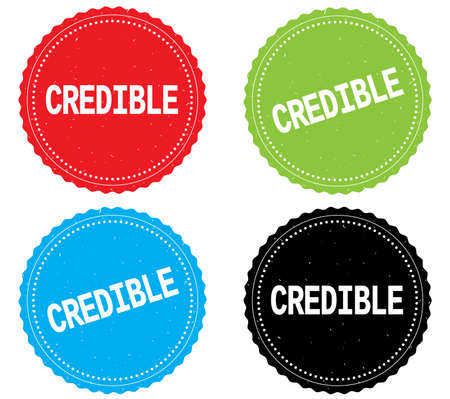 CREDIBLE text, on round wavy border stamp badge, in color set.