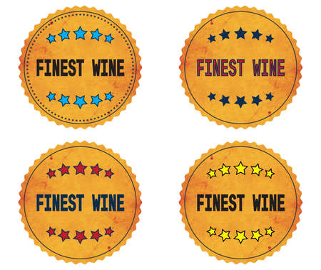 finest: FINEST WINE text, on round wavy border vintage stamp badge, in color set.