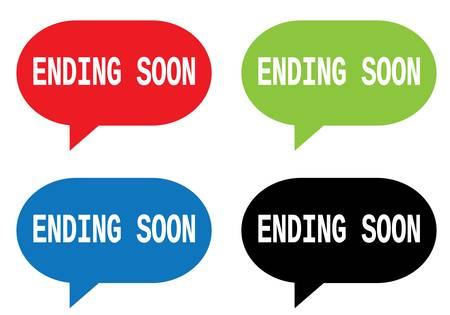 ENDING SOON text, on rectangle speech bubble sign, in color set.
