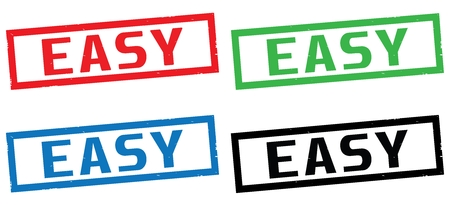 EASY text, on rectangle border stamp sign, in color set.