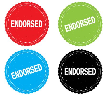 endorsed: ENDORSED text, on round wavy border stamp badge, in color set. Stock Photo