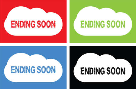 ENDING SOON text, on cloud bubble sign, in color set.