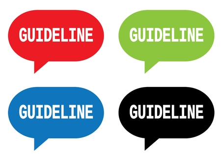 GUIDELINE text, on rectangle speech bubble sign, in color set. Stock Photo