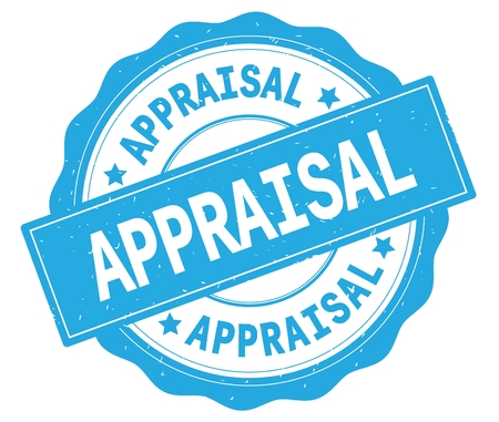 APPRAISAL text, written on cyan, lacey border, round vintage textured badge stamp. Stock Photo