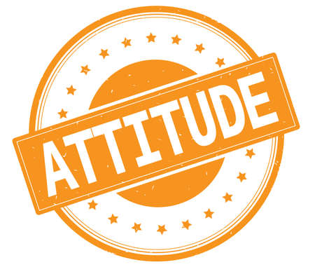 ATTITUDE text, on round vintage rubber stamp sign with stars, orange color.