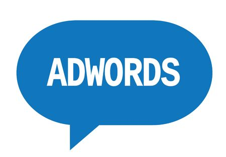 ADWORDS text in blue speech bubble simple sign with rounded corners. Stock Photo