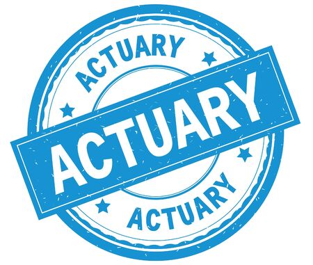 ACTUARY , written text on cyan round rubber vintage textured stamp.