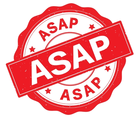 ASAP text, written on red, lacey border, round vintage textured badge stamp.