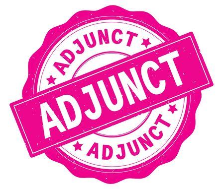 ADJUNCT text, written on pink, lacey border, round vintage textured badge stamp. 版權商用圖片