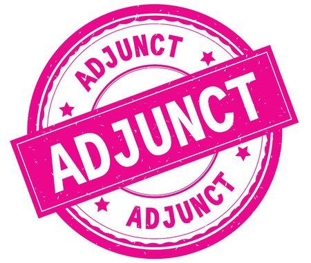 ADJUNCT , written text on pink round rubber vintage textured stamp. 版權商用圖片