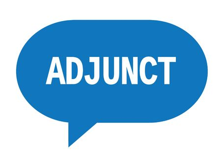 ADJUNCT text in blue speech bubble simple sign with rounded corners. 版權商用圖片 - 88961427