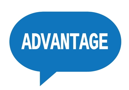 ADVANTAGE text in blue speech bubble simple sign with rounded corners. Stock Photo