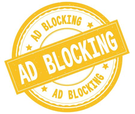 AD BLOCKING , written text on yellow round rubber vintage textured stamp. Stock Photo