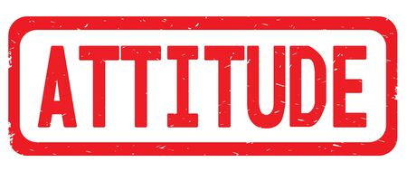 ATTITUDE text, on red border rectangle vintage textured stamp sign with round corners.