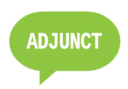 ADJUNCT text in green speech bubble simple sign with rounded corners. 版權商用圖片 - 88962209