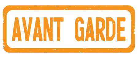 AVANT GARDE text, on orange border rectangle vintage textured stamp sign with round corners. Stock Photo