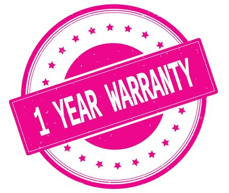 1 year warranty: 1 YEAR WARRANTY text, on round vintage rubber stamp sign with stars, magenta pink color. Stock Photo