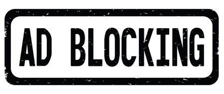 AD BLOCKING text, on black border rectangle vintage textured stamp sign with round corners. Stock Photo