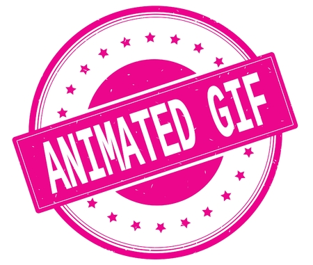 ANIMATED GIF text, on round vintage rubber stamp sign with stars, magenta pink color.