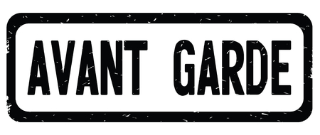 AVANT GARDE text, on black border rectangle vintage textured stamp sign with round corners. Stock Photo