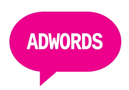 ADWORDS text in pink speech bubble simple sign with rounded corners.