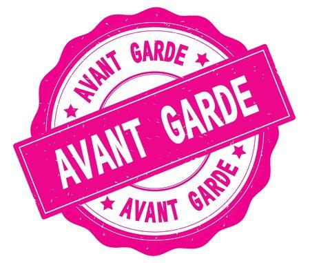 AVANT GARDE text, written on pink, lacey border, round vintage textured badge stamp. Stock Photo