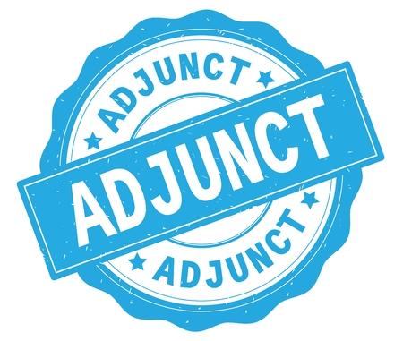 ADJUNCT text, written on cyan, lacey border, round vintage textured badge stamp. 版權商用圖片