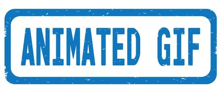 ANIMATED GIF text, on blue border rectangle vintage textured stamp sign with round corners. Stock Photo