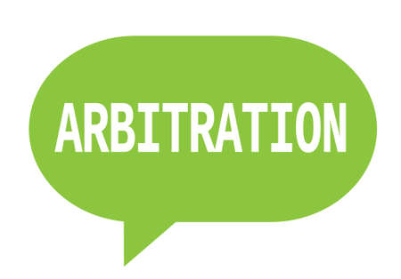ARBITRATION text in green speech bubble simple sign with rounded corners. Stock Photo