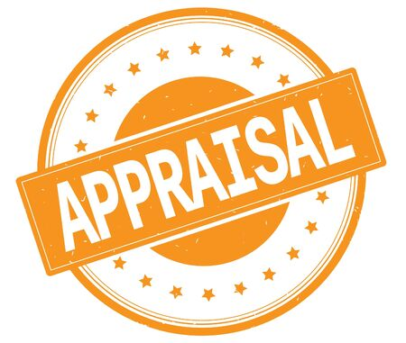 APPRAISAL text, on round vintage rubber stamp sign with stars, orange color.