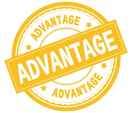 ADVANTAGE , written text on yellow round rubber vintage textured stamp. Imagens