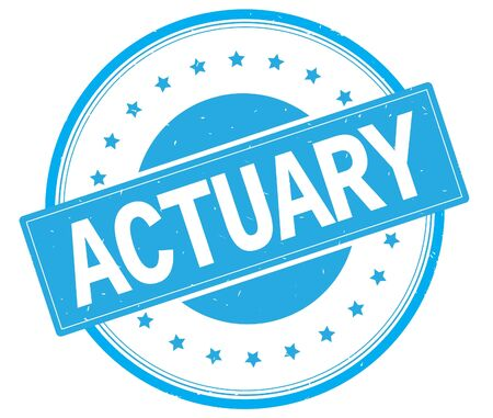 ACTUARY text, on round vintage rubber stamp sign with stars, cyan color.
