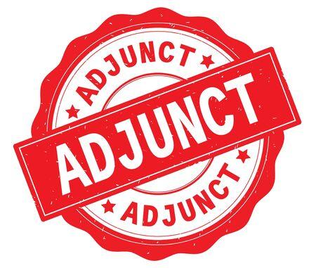 ADJUNCT text, written on red, lacey border, round vintage textured badge stamp. 版權商用圖片