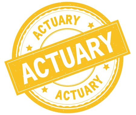 ACTUARY , written text on yellow round rubber vintage textured stamp.