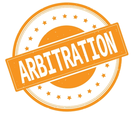 ARBITRATION text, on round vintage rubber stamp sign with stars, orange color.
