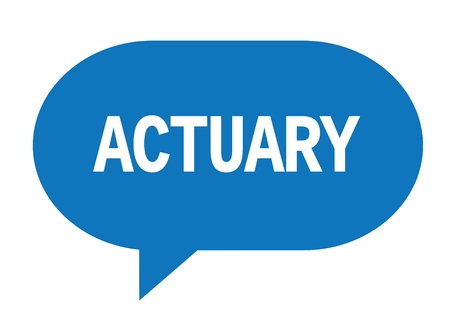 ACTUARY text in blue speech bubble simple sign with rounded corners. Stock Photo