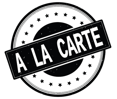 A LA CARTE text, on round vintage rubber stamp sign with stars, black color. Stock Photo