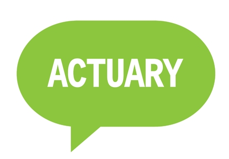 ACTUARY text in green speech bubble simple sign with rounded corners.