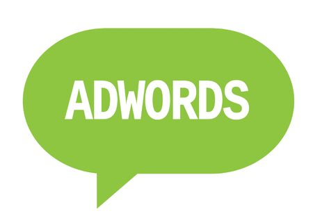 ADWORDS text in green speech bubble simple sign with rounded corners. Stock Photo