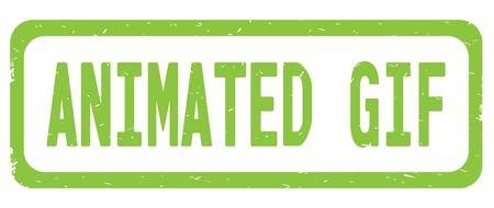 ANIMATED GIF text, on green border rectangle vintage textured stamp sign with round corners.