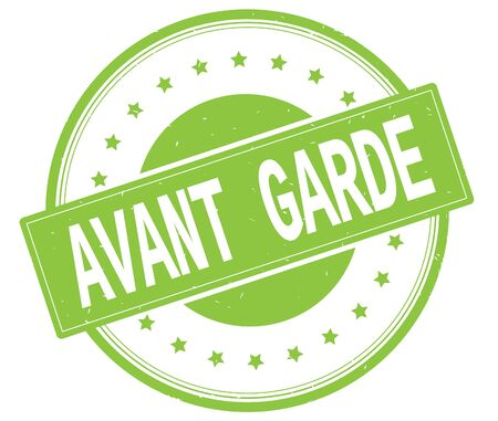 AVANT GARDE text, on round vintage rubber stamp sign with stars, green color. Stock Photo