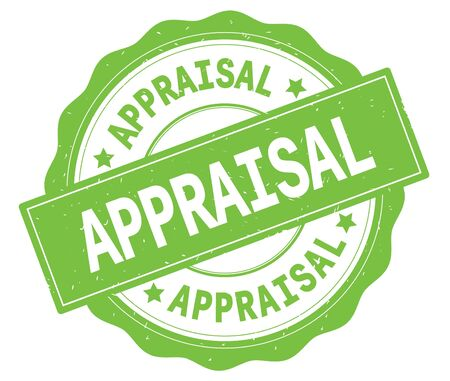 APPRAISAL text, written on green, lacey border, round vintage textured badge stamp. Stock Photo
