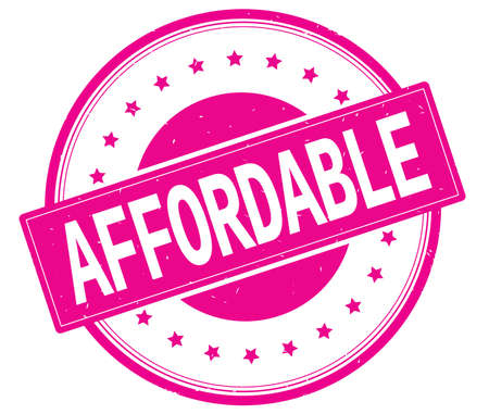 affordable: AFFORDABLE text, on round vintage rubber stamp sign with stars, magenta pink color. Stock Photo