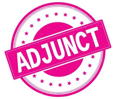 ADJUNCT text, on round vintage rubber stamp sign with stars, magenta pink color. 版權商用圖片