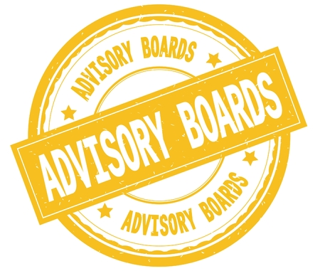 ADVISORY BOARDS , written text on yellow round rubber vintage textured stamp.