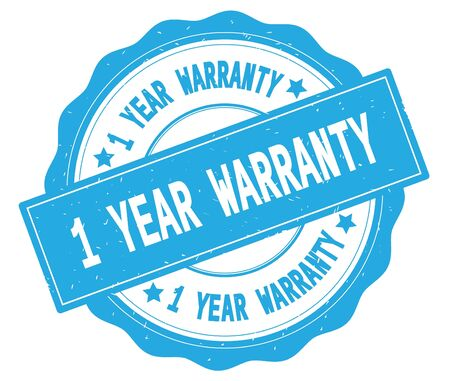 1 year warranty: 1 YEAR WARRANTY text, written on cyan, lacey border, round vintage textured badge stamp. Stock Photo