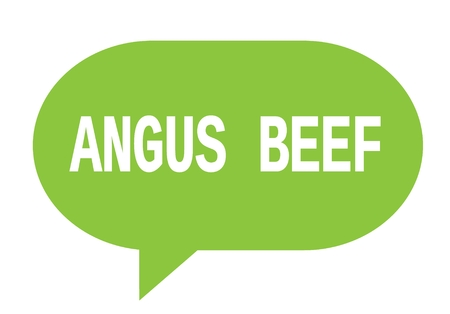 angus: ANGUS BEEF text in green speech bubble simple sign with rounded corners.