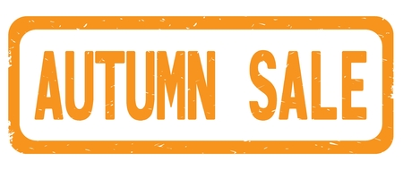 AUTUMN SALE text, on orange border rectangle vintage textured stamp sign with round corners.