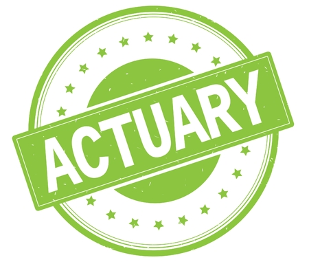ACTUARY text, on round vintage rubber stamp sign with stars, green color.
