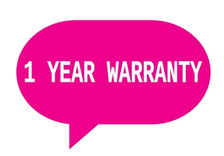 1 year warranty: 1 YEAR WARRANTY text in pink speech bubble simple sign with rounded corners. Stock Photo